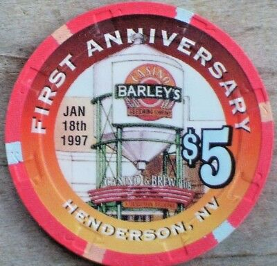 $5 1St Anniversary Gaming Chip From Barley's Casino Henderson, Nv