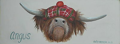 Angus The Scottish Highland Cow Wooden Sign Plaque Print Art Picture Painting