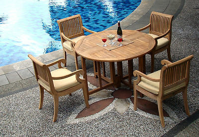"""Giva Grade-A Teak 5 pc Dining 48"""" Round Table 4 Arm Chair Set Outdoor New"""