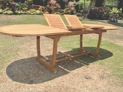 """Grade-A Teak Wood 94"""" Mas Oval Double Extension Dining Table Outdoor Patio New"""