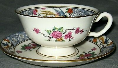 Lenox Ming-Birds (Older,cream,black Green Stamp) Footed Cup & Saucer Set