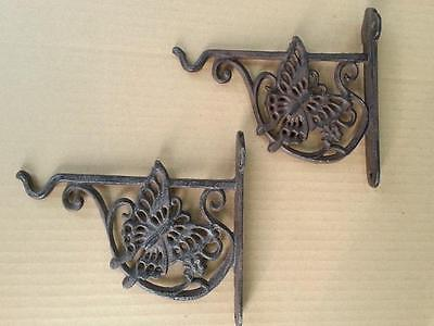 A Pair of Cast Iron Butterfly Garden Wall Plant Pot Hook Rustic