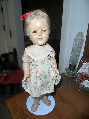 "Vintage SHIRLEY TEMPLE DOLL composition 15"" from 30's 40's original dress?"