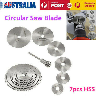7PCS HSS Circular Saw Disc Set Dremel Mini Drill Rotary Tool Cutting Blade Set