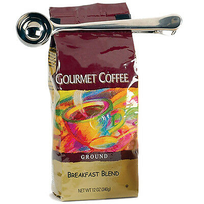 Stainless Steel 1 Cup Ground Coffee Measuring Scoop Spoon + Bag Seal Clip NEW UK