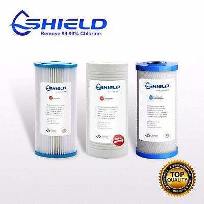"""10"""" x 4.5"""" Triple Whole House Water Filter Replacement Cartridges Pack 3 Stages"""