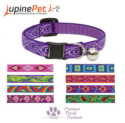 Lupine Cat Collar 12mm wide with bell and safety release buckle Asst patterns