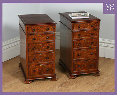 Pair Two Antique Victorian Oak Bedside Chests Cupboard Cabinet Night Lamp Tables
