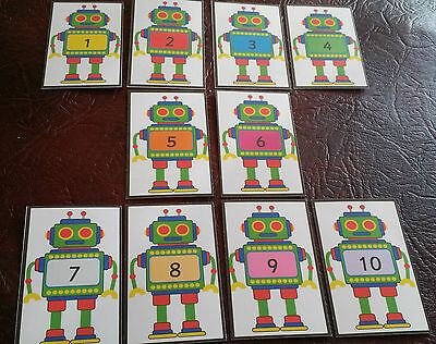 Robot Numbers - counting - EYFS - Number line - Display - SEN first learning