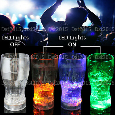 Multi-Color Flashing LED Light-Up Cola Drinking Glasses CUP Barware For Party