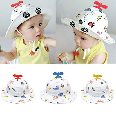 Cute Toddlers Baby Boys Girls Plane Sun Cap Summer Cotton Bucket Hat Bonnet 1-2Y