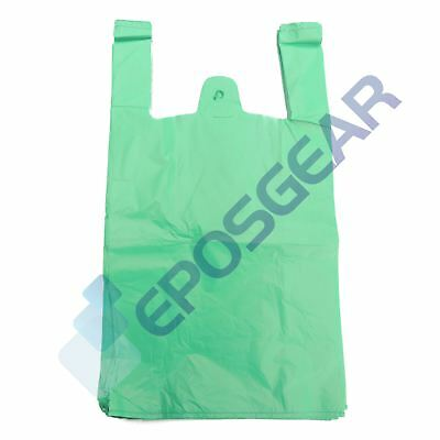 100 Jumbo Green Strong Recycled Eco Plastic Vest Shopping Carrier Bags 22mu