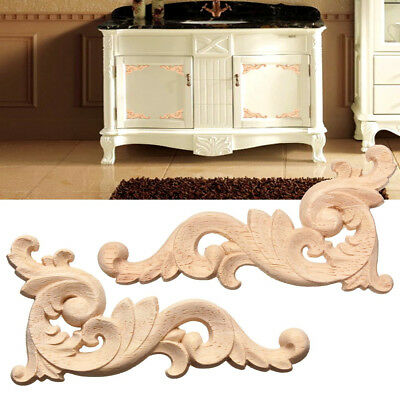1PCS 12X6cm Wood Carved Decal Corner Onlay Applique Frame Door Furniture Decor