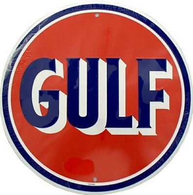 Gulf Petrol Round Aluminium Tin Metal Sign Made in USA