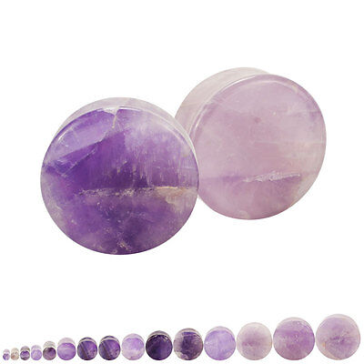Natural Amethyst Stone Organic Double Flared Saddle Plugs Pair
