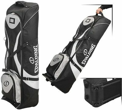 Spalding Padded Golf Bag Travel Cover with Wheels (Black/White)
