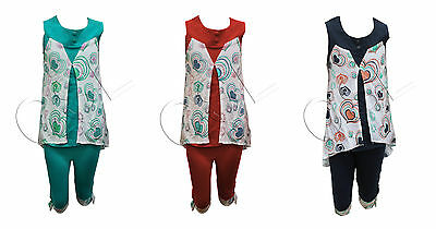 GIRL'S TUNIC SET top & 3 quarter leggings set outfit 2 to 5 years. CODE- G 04