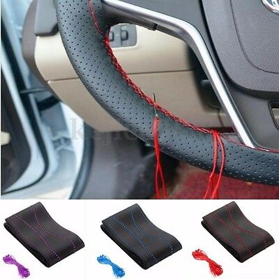 Universal Fiber Leather DIY Auto Car Steering Wheel Cover W/ Needles and Thread