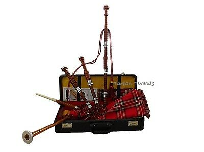 Fullsize Rosewood Scottish Bagpipes Reeds  & Carry Case With Learning Guide