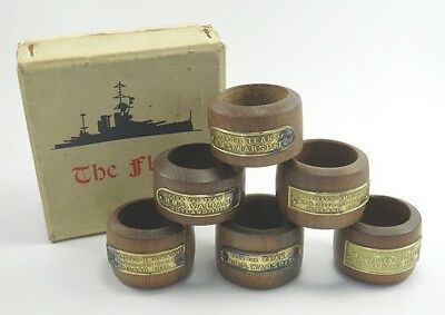 Antique Navy ship breakers set of 6 serviette napkin rings timber from The Fleet