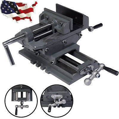 "4""/ 5"" Cross Drill Press Vise X-Y Clamp Machine Slide Metal Milling 2 Way HD"