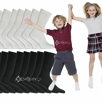 6 or 12 Pairs Kids Cotton Rich School Sport Socks Boys Girls Back to School