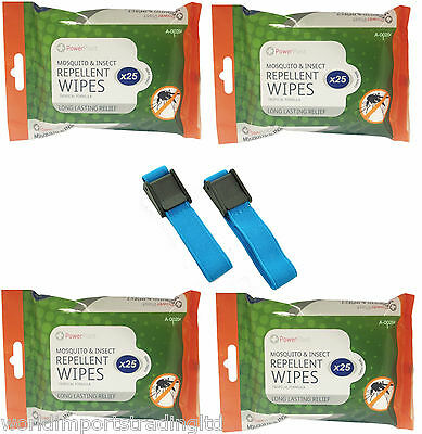 100 X Mosquito Repellent Wipes & Or  Deet Anti Mosquito Repellent Wrist Bands