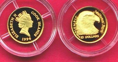 1996 Cook Islands 1/25th oz Gold Proof Bald Eagle Coin  Olympic National Parks