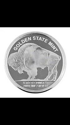 5 OZ Pure Silver Coin Buffalo From Golden State Mint