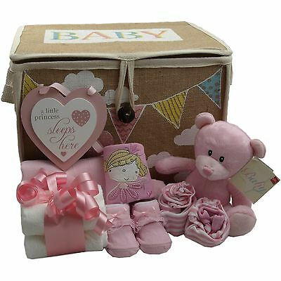 Baby gift basket/hamper girl 4 piece set/keepsake nappy cake baby shower/gift