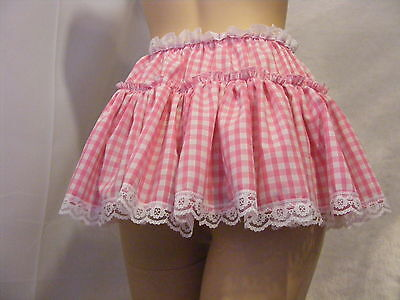 SISSY ADULT BABY FANCYDRESS PINK GINGHAM  SKIRT original hand made in the uk