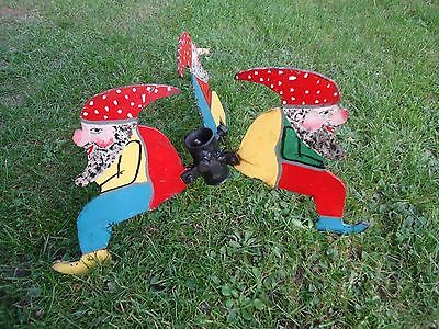 Vintage Metal Christmas Tree stand - Dwarfs Handpainted!