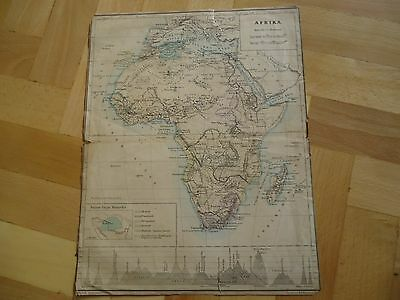 Old Original Antique geographic map Africa Ed.Holzel Wien