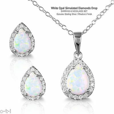 White Opal Simulated Diamonds Drop Sterling Silver Necklace & Earring Set