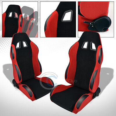 2 Universal Br Black/red Suede Leather Reclinable Racing Bucket Seats+Slider C12
