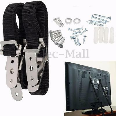 Pair Anti-Tip TV Child Proof Safety Strap Furniture Flat Screen TV Wall Straps