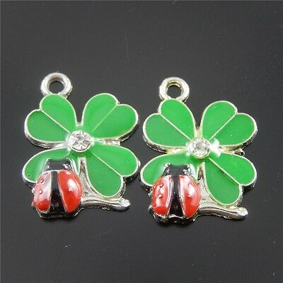 Green And Red Color Clover and Ladybug Enamel Pendant Charms Finding 37058 20pcs