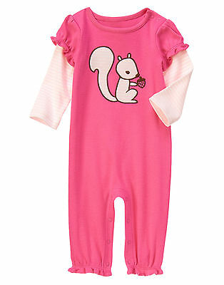 NWT Gymboree Squirrel Pink Romper 1PC Baby Girl NB 0-3 3-6 6-12 12-18 Months