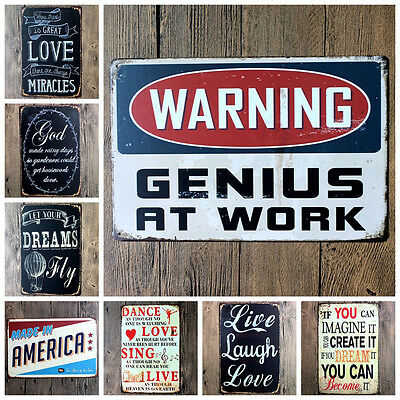 Vintage Tin Sign Plaque Poetry Word Metal Poster Home Bar Pub Wall Shabby Decor