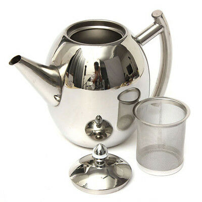 Polish Stainless Steel Teapot Pot with Strainer For Party Home Silver 1000ML New