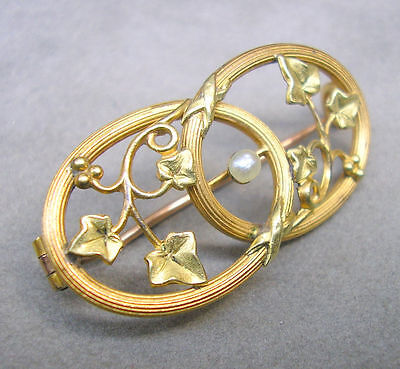 Superb Antique French FIX Art Nouveau Ivy Brooch Pin Gold Filled with Pearl