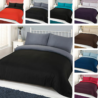 Brentfords Plain Dyed Duvet Cover Quilt Bedding Set Easy Care Reversible