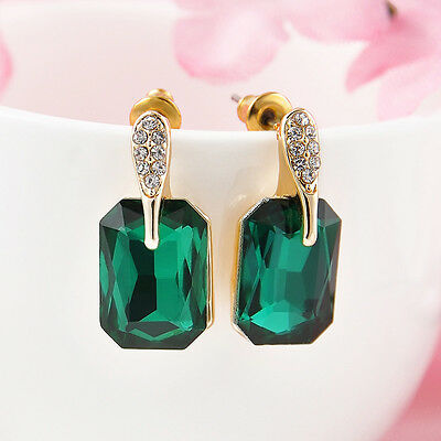 Wedding Jewelry Green Women 18k Gold Plated Crystal Rhinestone Stud Earrings