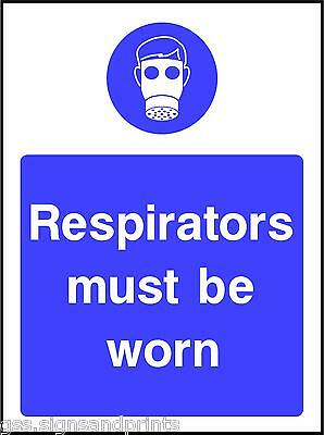 130x90MM RESPIRATORS MUST BE WORN  - MANDATORY PRINTED VINYL STICKER