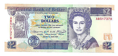 Belize 1991 Two Dollars Aunc  Banknote