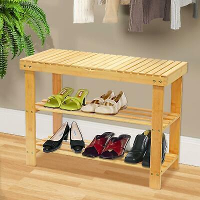 2 in 1 Bamboo Bench Shoe Rack Organiser With Storage Compartment Shelf Hallway