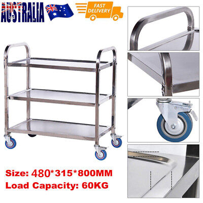 3 Tier Stainless Steel Trolley Kitchen Dinning Serving Utility Island Cart 80CM