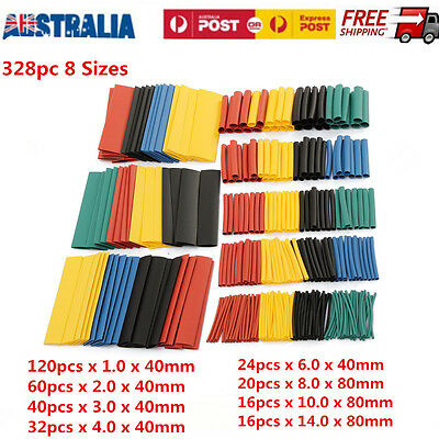 328PCS Assorted 8 Size Heat Shrink Tube Polyolefin 2:1 Halogen-Free Cable Sleeve