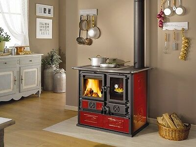 """Rosa Reverse Bordeaux"" Wood Burning Cook Stove by La Nordica"