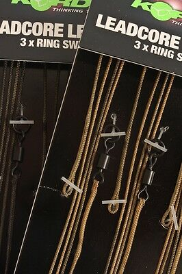 Korda Kable Leadcore Leaders with Ring Swivel - Weed / Silt